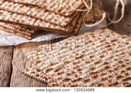 Jewish Kosher Matzah Macro On A Table. Horizontal