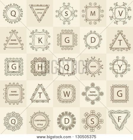 Business sign, monogram identity for restaurant, boutique, cafe. logo template flourishes calligraphic elegant ornament lines. Vector Illustration