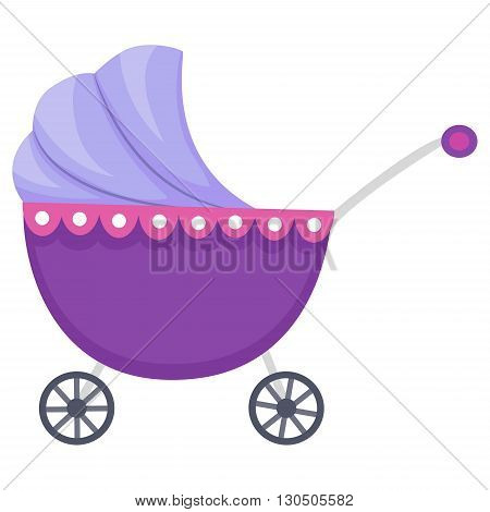 Vector Illustration of Violet Baby Carriage Stroller