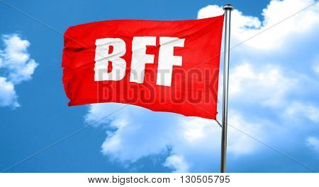 bff, 3D rendering, a red waving flag