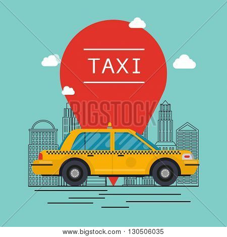 Taxi Car. Vector Modern Flat Creative Info Graphics Design On Public Taxi. Flat Design Modern Vector