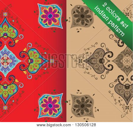 Flower and elements traditional Asian or Indian seamless vector patterns. 2 colors set.