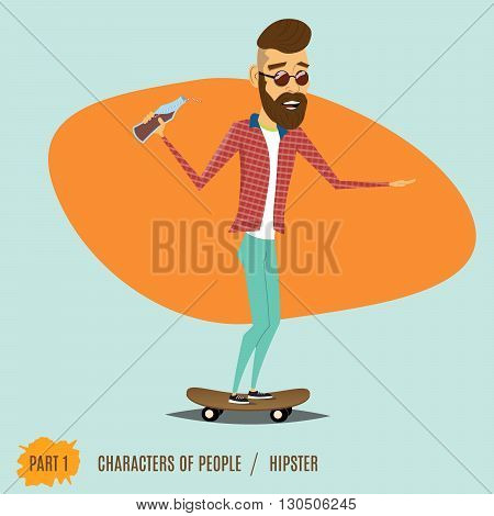 The male hipster rides on a skateboard, wearing in sunglasses and drinks juice.Urban citizen character