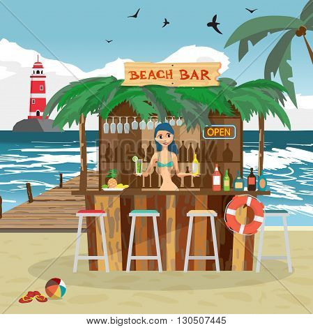 Bar bungalows with bartender woman on the beach ocean coast. Vector flat cartoon illustration. Summer vacation in a tropical beach. Relaxing at the beach bar, drinks, fruits