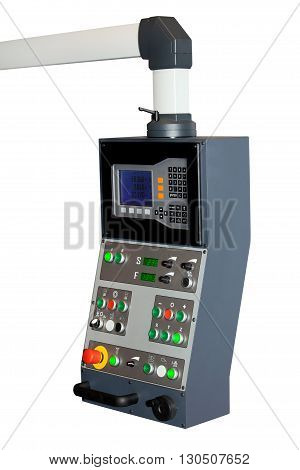 Industrial CNC control panel isolated on white background. Metal processing industry