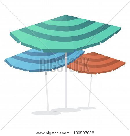 Beach umbrellas. Seasons objects parasol. Vector Illustration. Isolated on white background.