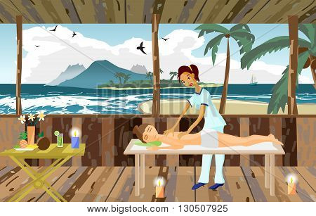Vector illustration of woman pampering herself by enjoying day spa massage on the beach, back massage, wellness wooden salon in thailand, flat cartoon illustration