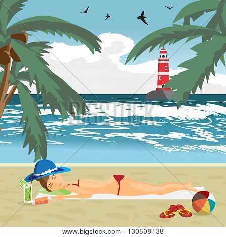 Woman sunbathes on the beach on sand. Sea landscape summer beach, lighthouse in the distance. View with palm trees on a beach in summer vacation.Vector flat cartoon illustration
