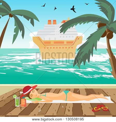 Woman sunbathes on the beach on wooden floor. Sea landscape summer beach, cruise ship in the distance. View with palm trees on a beach in summer vacation.Vector flat cartoon illustration