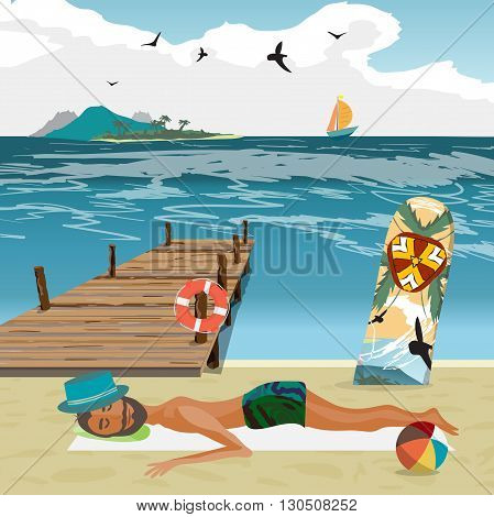 Man sunbathes on the beach after a day on surfing. Sea landscape summer beach, surfboard stuck in the sand. Wooden pier on the beach in hot summer day. Vector flat cartoon illustration
