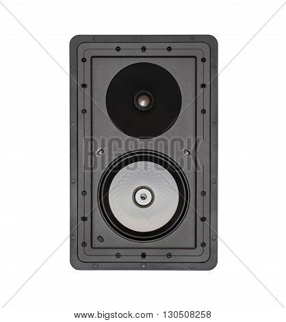 Black audio speaker system, loudspeaker isolated on white background
