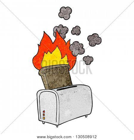 freehand textured cartoon burnt toast