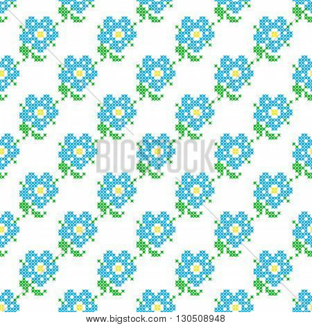 Seamless isolated texture with abstract blue embroidered flowers with leaves for tablecloth. Embroidery. Cross stitch.