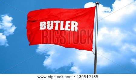 butler, 3D rendering, a red waving flag