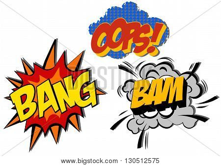 retro cartoon explosion pop art comic set. Vector EPS