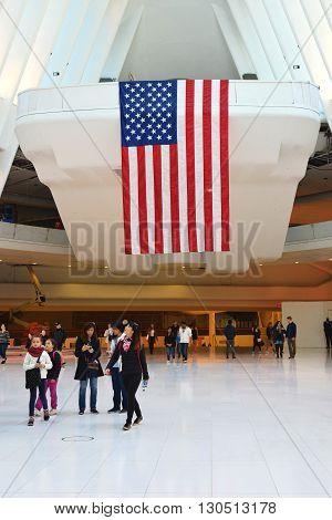 New York, NY, USA - April 17, 2016: US Flag inside of World Trade Center Transportation Hub.