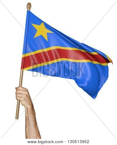 Hand proudly waving the national flag of DR Congo, 3D rendering