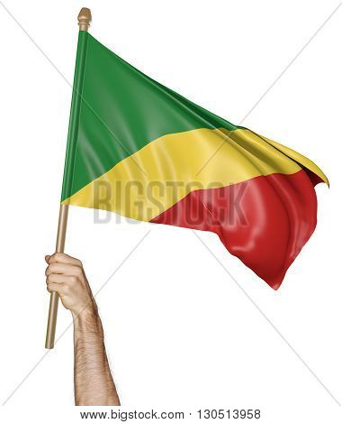 Hand proudly waving the national flag of Congo Republic, 3D rendering