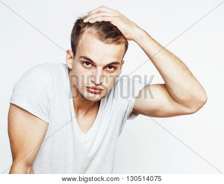young handsome man on white background gesturing, pointing, posing emotional, cute guy sexy