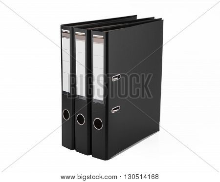 Black folders for papers on on white background