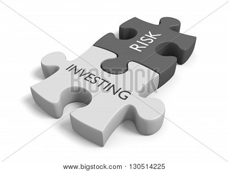 Connected puzzle pieces illustrating the risk of investing, 3D rendering