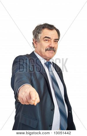 Mature Businessman Pointing To You