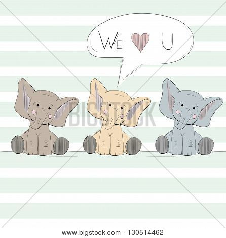 Hand drawn cute post Card with elephants.