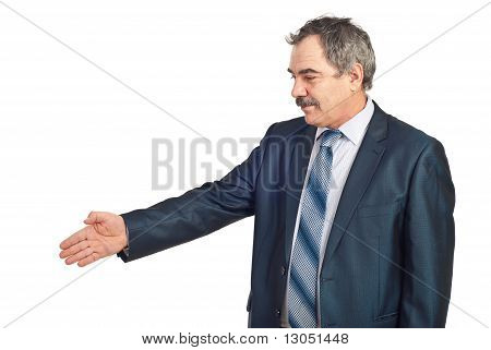 Mature Business Man Gesture Handshake