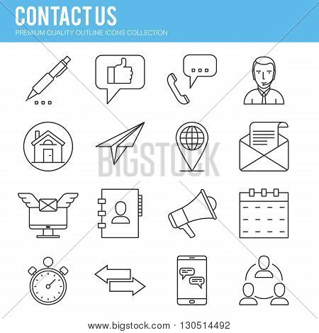 Contact us, mail, operator, Line icon collection . Premium quality vector illustration icon set for your web design