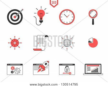 Seo analytics and data management searching engine optimization, webpage traffic development. Flat line modern design icon vector set illustration for your business