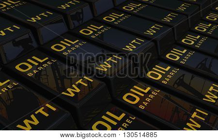 3D illustration American oil in form glossy bullion with reflection oil pump