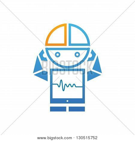 Blue robot with heart beat line icon vector illustration isolated on white background.