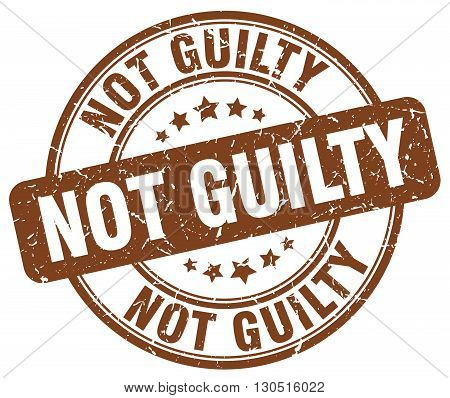not guilty brown grunge round vintage rubber stamp