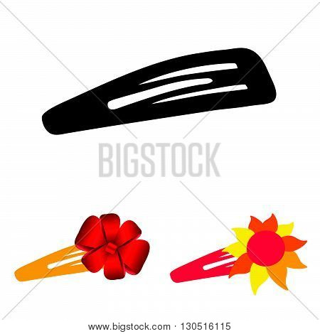 hairclip beuty set art in color illustration