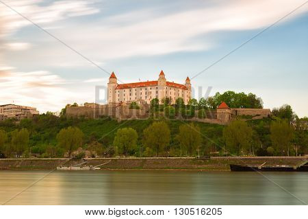 Medieval castle on a hill in Bratislava Slovakia