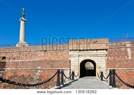 Gate at Belgrade Fortress the core and the oldest section of the urban area of Belgrade Serbia