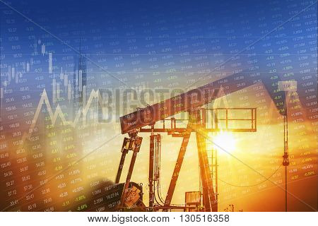 Crude Oil and Energy Companies Stock Investment Concept Graphic.