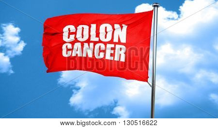 colon cancer, 3D rendering, a red waving flag