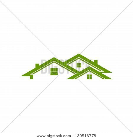 Real estate green house vector illustration isolated on white background.