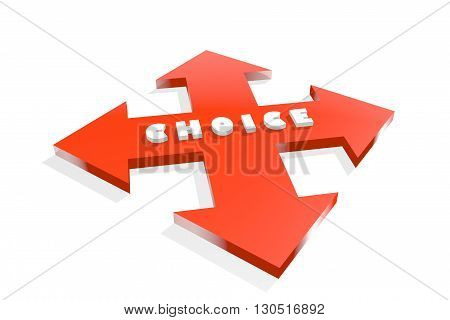 Arrow cross with choice word. Way choosing metaphor. 3D rendering