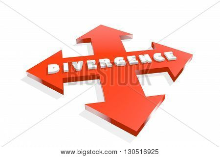 Arrow cross with divergence word. Way choosing metaphor. 3D rendering