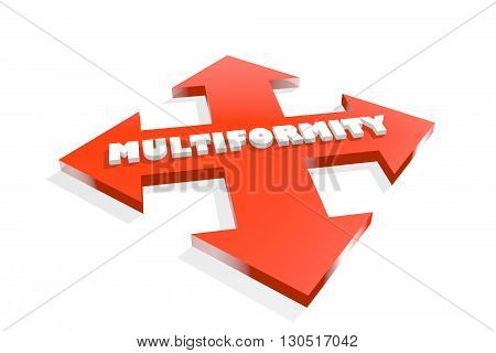 Arrow cross with multiformity word. Way choosing metaphor. 3D rendering