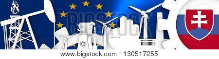 Energy and Power icons set. Header banner with Slovakia flag. Sustainable energy generation and heavy industry.European Union flag backdrop. 3D rendering