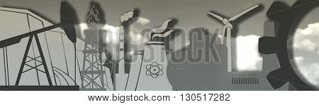Energy and Power icons set. Header banner by industrial theme. Sustainable energy generation and heavy industry. Cloudscape backdrop