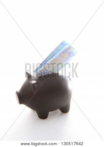 A black piggybank with an airplane of money on a white background