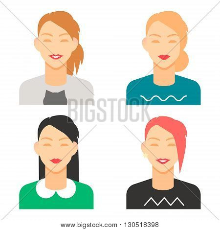 set of smiling female avatars, isolated flat vector image for your projects