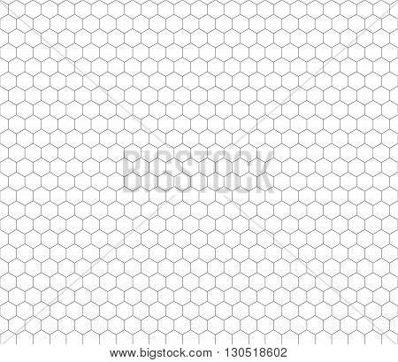 Gray hexagon grid on white seamless pattern