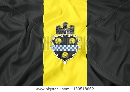 Waving Flag of Pittsburgh Pennsylvania, with beautiful satin background