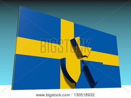 atom energy symbol and sweden national flag. 3d rendering