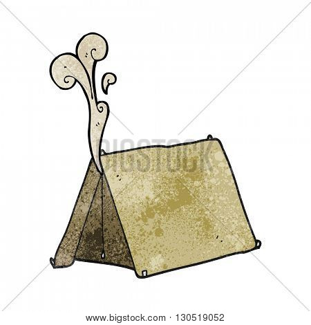 freehand textured cartoon old smelly tent